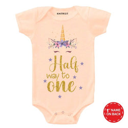 Halfway to One Unicorn Design Baby Outfit - Personalised Baby Onesie