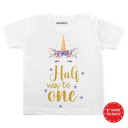 Halfway to One Unicorn Design Baby Outfit | Personalised Tshirt