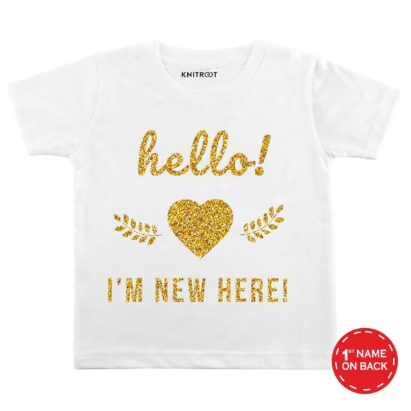 Hello! I'm New Here Glitter Baby Wear-8 - Personalised Tshirt
