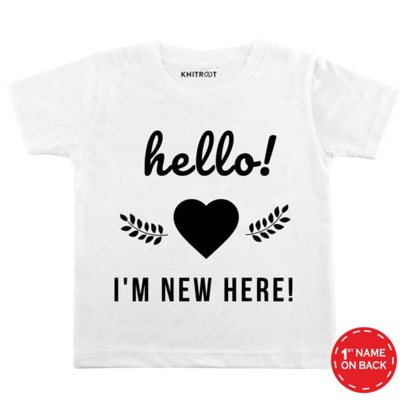 Hello! I'm New Here Baby Wear-6 - Personalised Tshirt