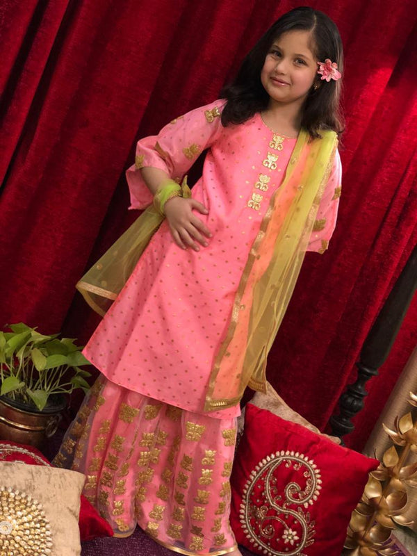 Lotus Neon pink Sharara Set - Girls Indian Wear