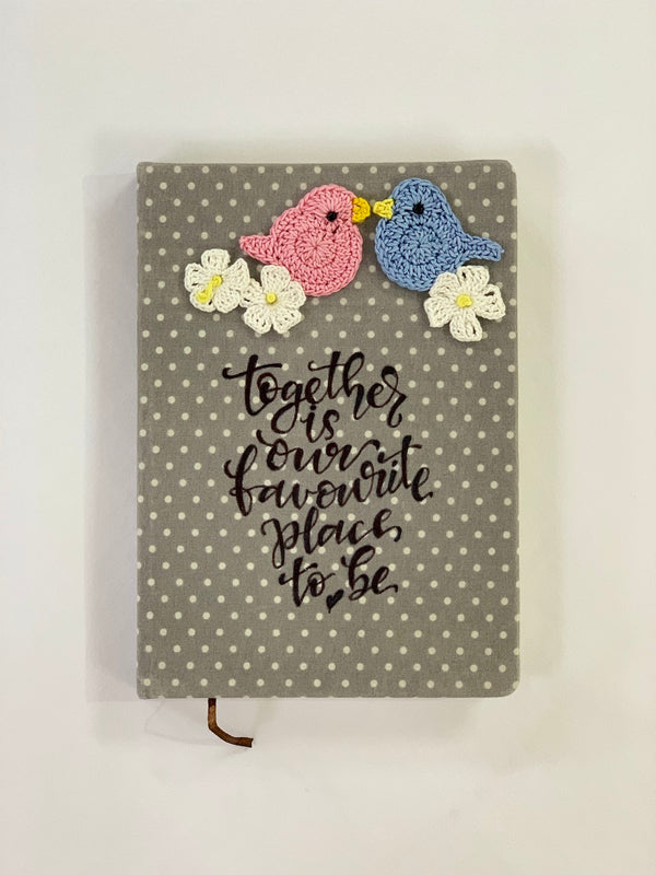 Diary with Crochet Embellished Birds and Flowers | Stationery