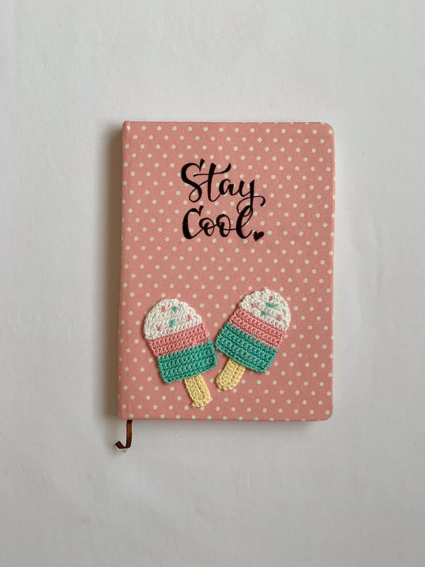 Diary with Crochet Embellished Ice cream | Stationery