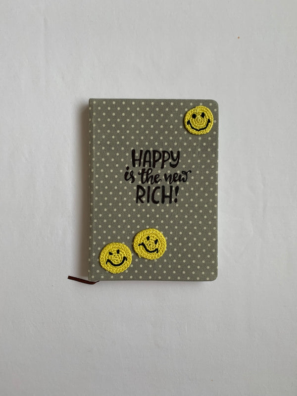 Diary with Crochet Embellished Smileys | Stationery