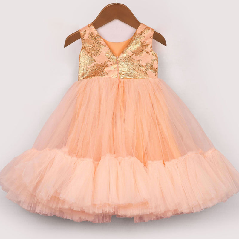 Peach Fuzz Dress | Girls Party Wear