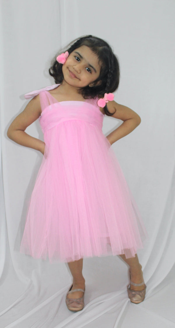 Pink Shoulder Bow Dress- Girls Party Wear