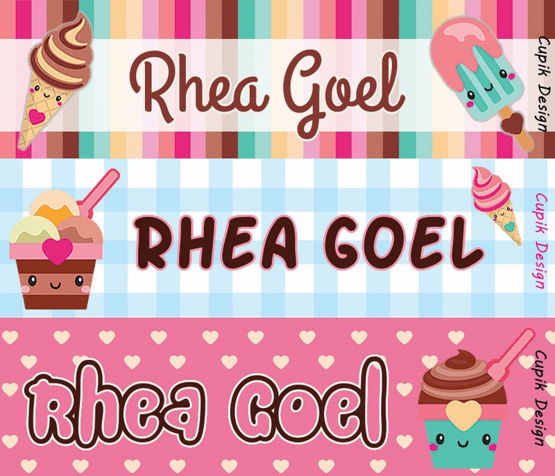 Personalised Name Stickers (Pack of 45)- Ice-cream
