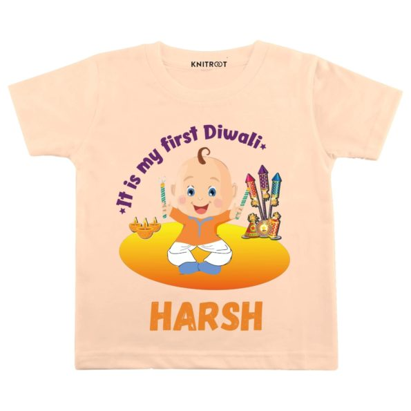 It Is My First Diwali Theme Baby Wear  Personalised Tshirt