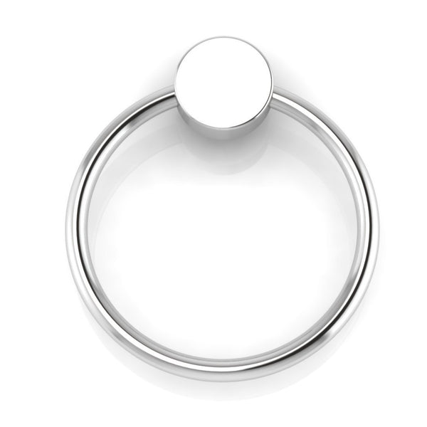 Sterling Silver Flat Ring Teether Baby Rattle