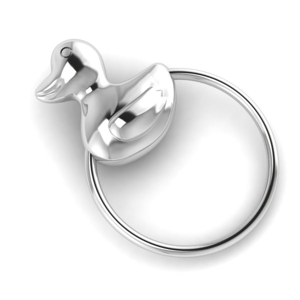 Sterling Silver Duck Ring Baby Rattle