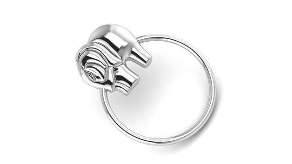 Sterling Silver Elephant Ring Baby Rattle