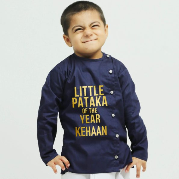 Personalised Blue Dhoti Kurta | Boys Indian Wear