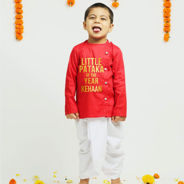 Personalised Red Dhoti Kurta | Boys Indian Wear