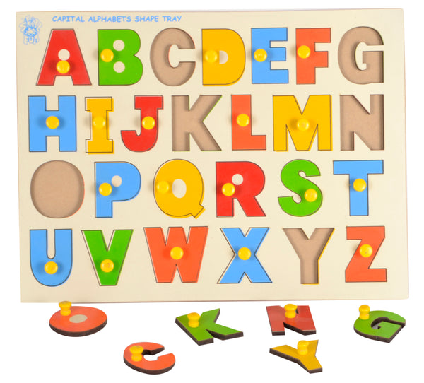Capital Alphabet Tray (With Knobs)-Toys-THE MUM SHOP