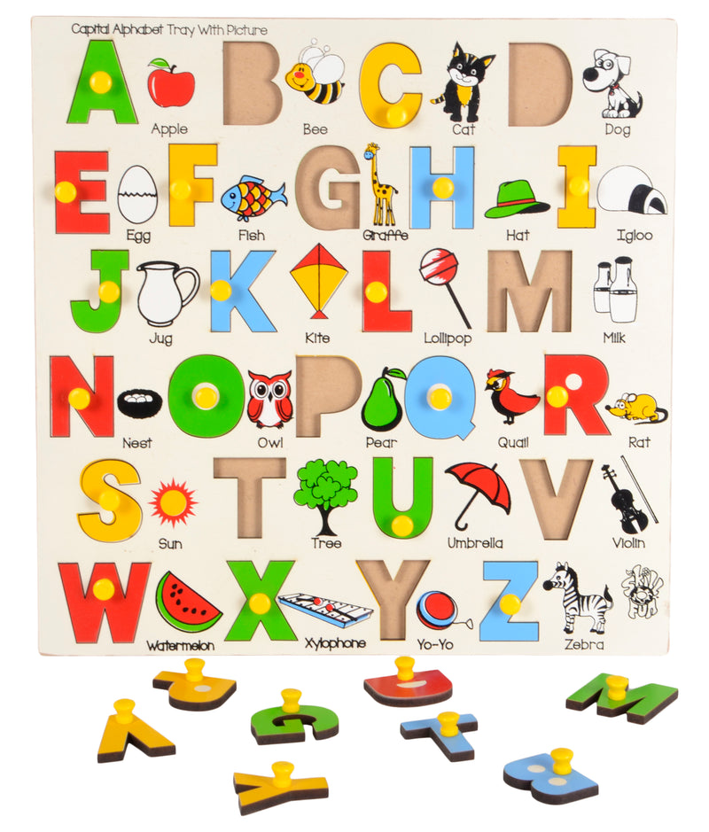 Capital Alphabet Tray With Picture (With Knobs)-Toys-THE MUM SHOP
