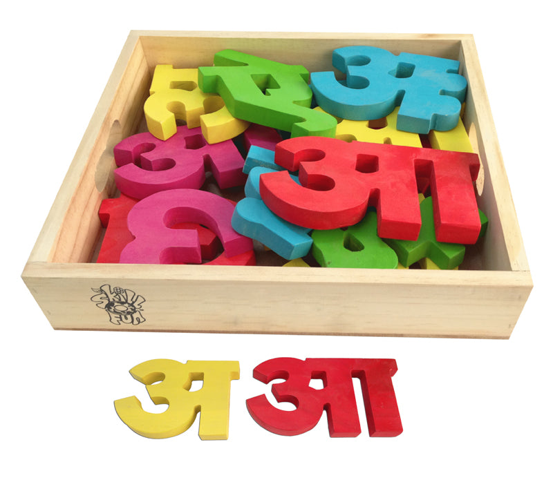 Hindi Vowel Cutout Block (Aa Aaa) Colored-Toys-THE MUM SHOP