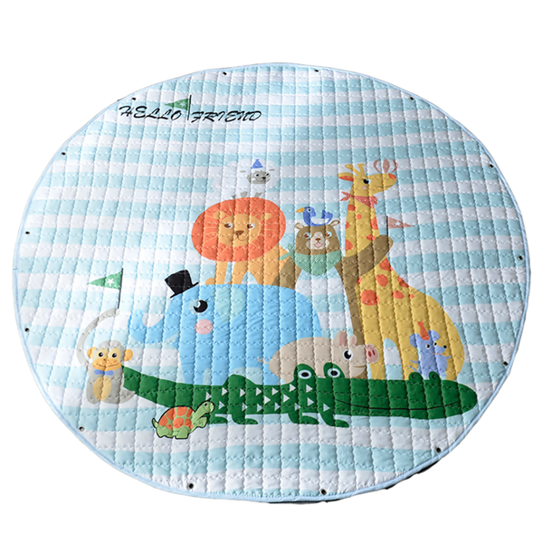 Cute Animals Baby Soft Play Mat & drawstring bag | Toy Organiser