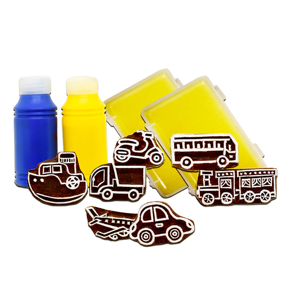 Handmade Block Print Wooden Stamps - Around Town -Wooden Toys