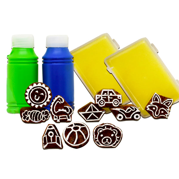 Handmade Block Print Wooden Stamps - The Lil Boys Stamping kit - Wooden Toys