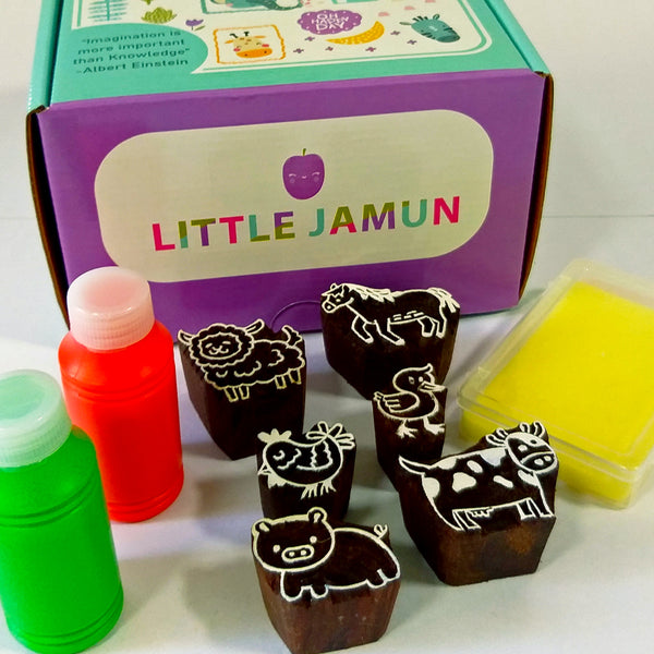 Handmade Block Print Wooden Stamps - Farm Animals - Wooden Toys