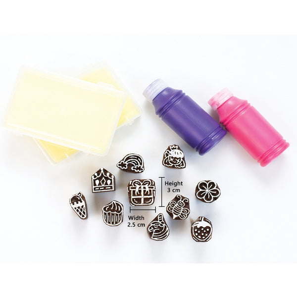 Handmade Block Print Wooden Stamps - The Lil Girls Stamping kit -Wooden Toys