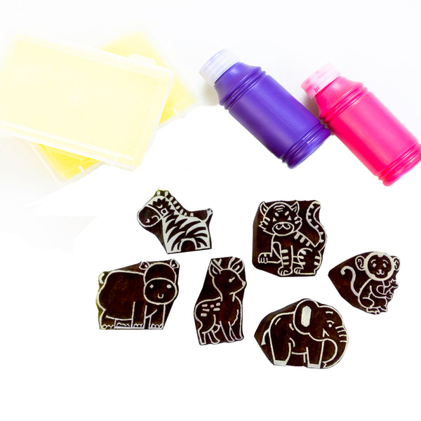 Handmade Block Print Wooden Stamps - Wild Animals - Wooden Toys