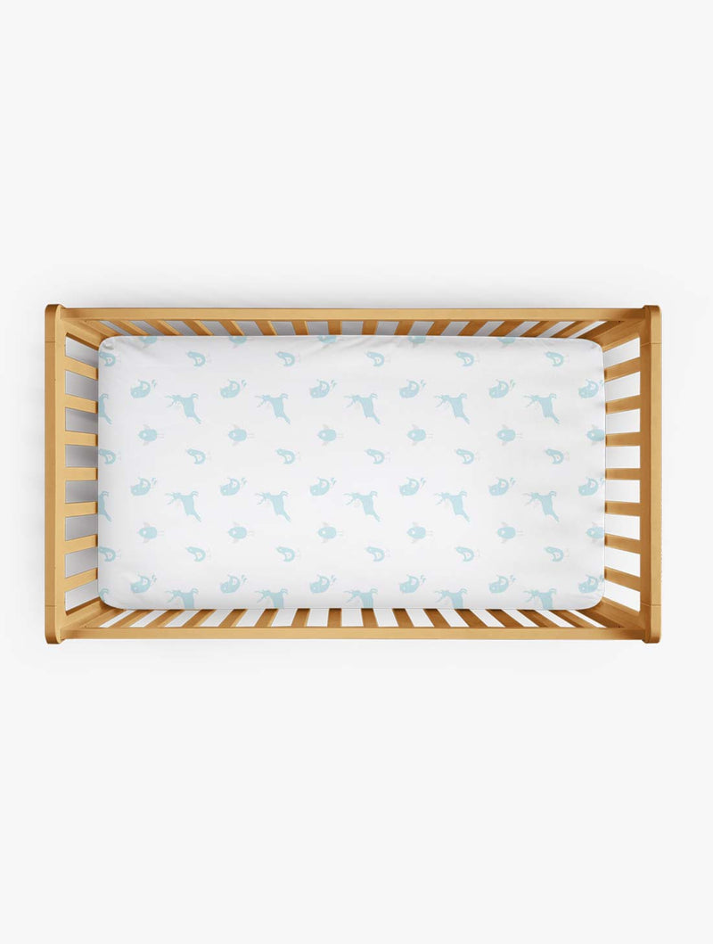 Organic Cotton Fitted Cradle Sheet for Crib Mattress (Birds) | Cot Sheet