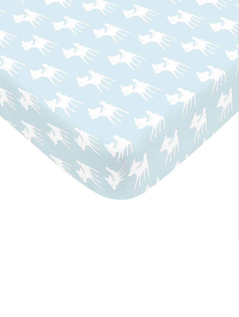 Organic Cotton Fitted Cradle Sheet for Crib Mattress | Cot Sheet, Pack of 2 (Birds/Deers)