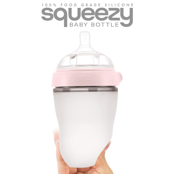 Rabitat Squeezy Silicone Feeding Bottle (250ml Double Bottle, Pink)