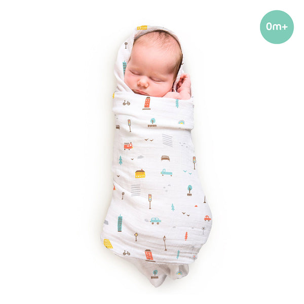 Rabitat Bamboo Swaddle Pamper (City Lights) - Baby Swaddles