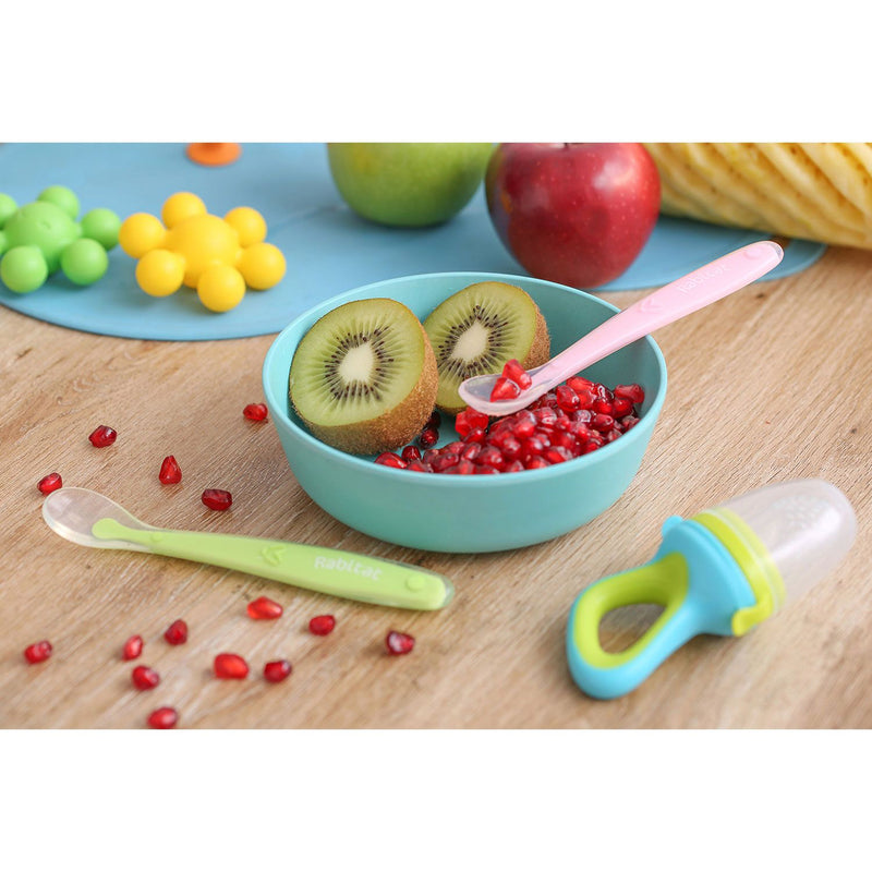Rabitat Soft & Flexible Silicone Spoons - Green/Pink - Feeding Spoon