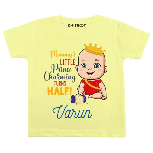 Mommy's Little Prince Charming Turns Half! Baby Clothes | Personalised Tshirt