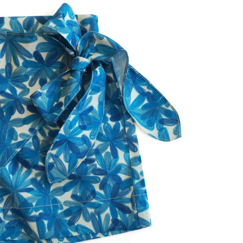 Blue Blooms Tie-Up Skort-Clothes-THE MUM SHOP