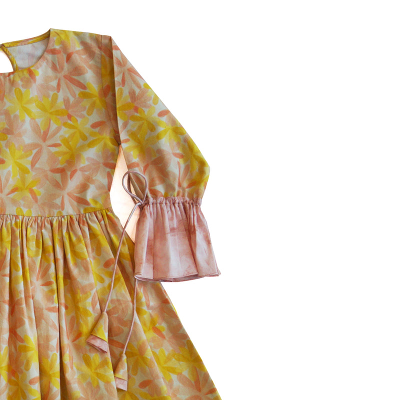 Apricot Blooms Gathered Dress-Clothes-THE MUM SHOP