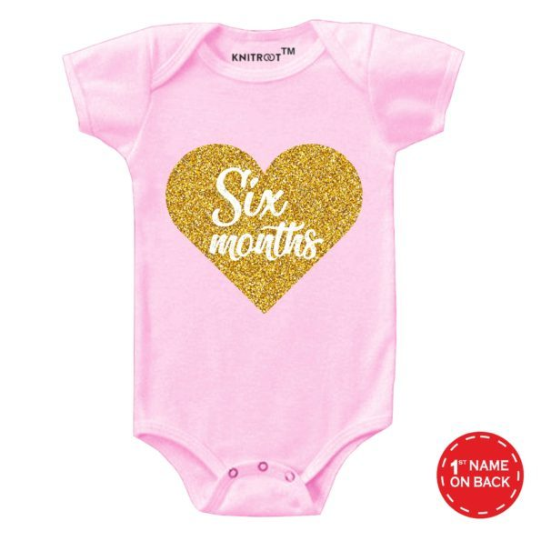Six Month Heart Baby Wear | Personalised Baby Onesie