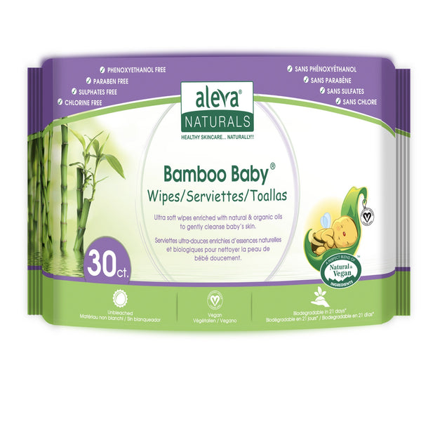 Aleva Naturals Bamboo Wipes - Travel size - 30pk