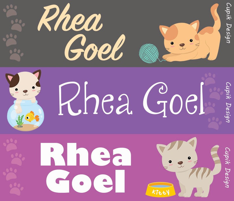 Personalised Name Stickers (Pack of 45)- Cats