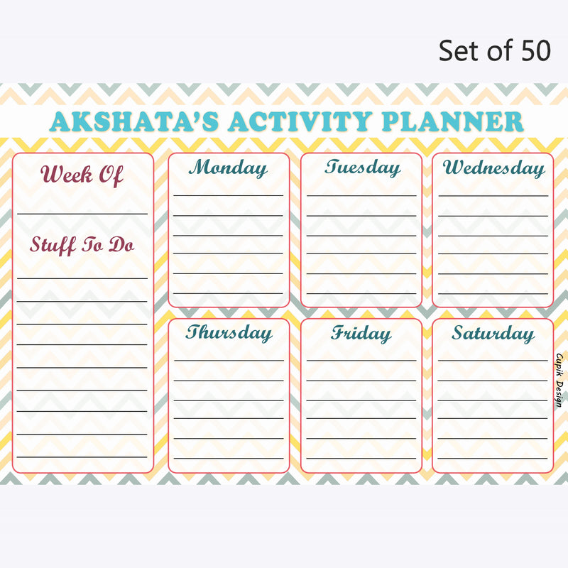 Activity Planner Personalised (Set of 50)-Yellow Chevron