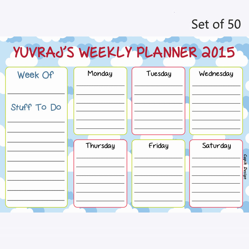 Activity Planner Personalised (Set of 50)- Happy Clouds