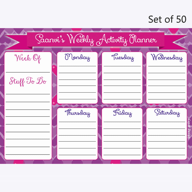 Activity Planner Personalised (Set of 50)- Little Hearts