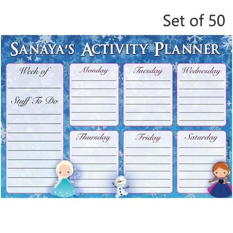 Activity Planner Personalised (Set of 50)- Snowflakes