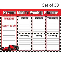 Activity Planner Personalised (Set of 50)- Racing Car