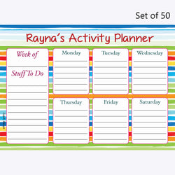 Activity Planner Personalised (Set of 50)- Rainbow