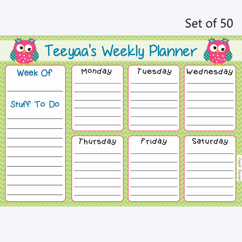 Activity Planner Personalised (Set of 50)- Owls