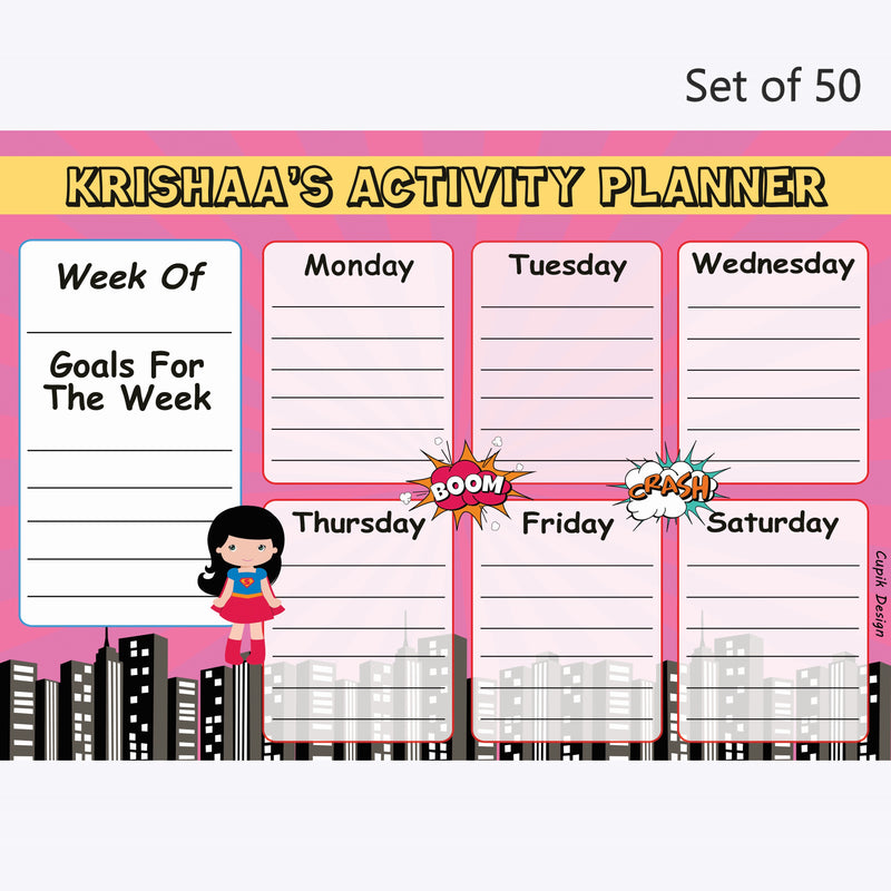Activity Planner Personalised (Set of 50)- Supergirl