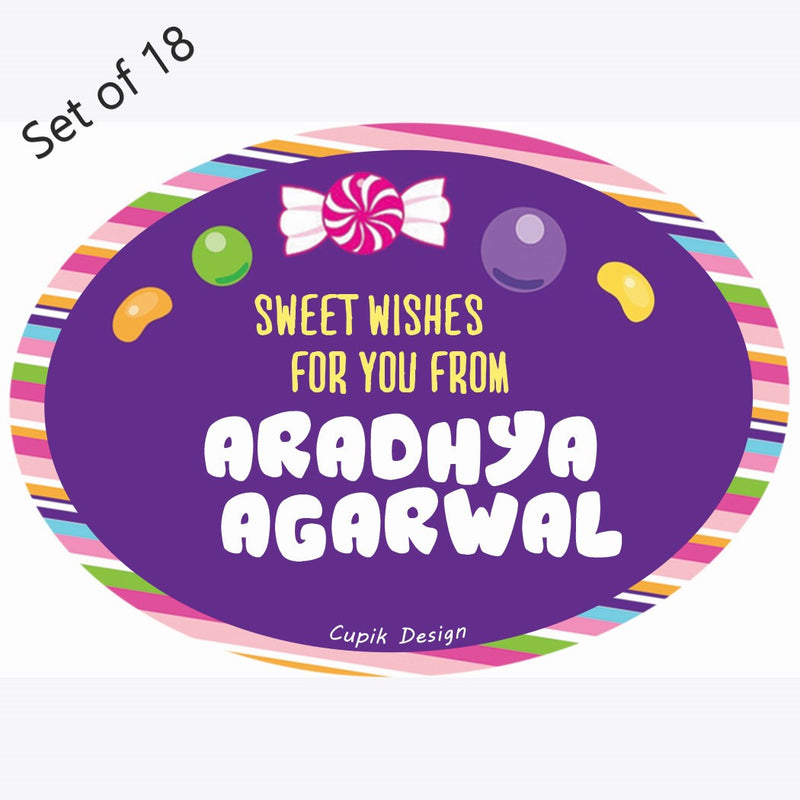 Personalised Gift Stickers (Premium) Set of 18- Candyland