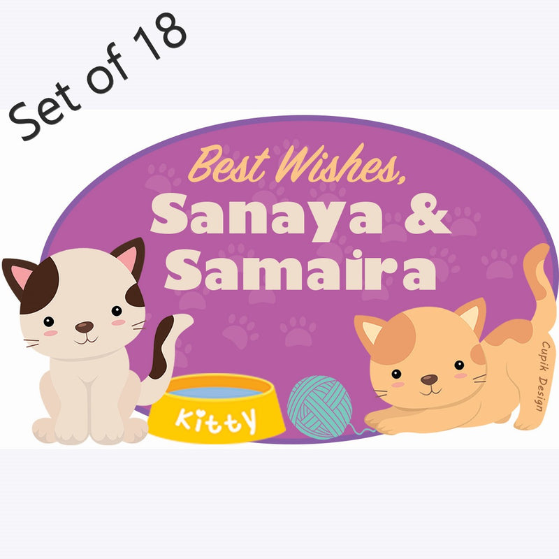 Personalised Gift Stickers (Premium) Set of 18- Cats