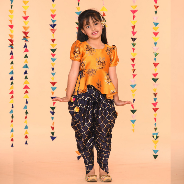 Navy mustard pepum Girls Dhoti Set-Girls Indian Wear