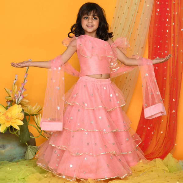 Pink ruffled Lehenga Set - Girls Indian Wear