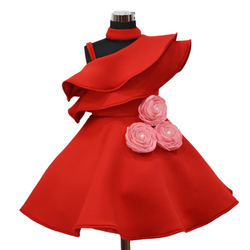 Girls Party Dress - Red Party Dress